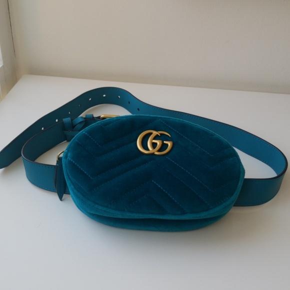 9ae650b6bb Gucci GG Marmont matelassé velvet belt bag Blue